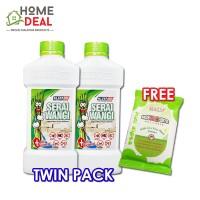 Kleenso PROMOTION - Serai Wangi Liquid Wax Floor Cleaner 1L (TWIN PACK) FREE 1x Pesso Mos-NO-Bite Wet Tissue
