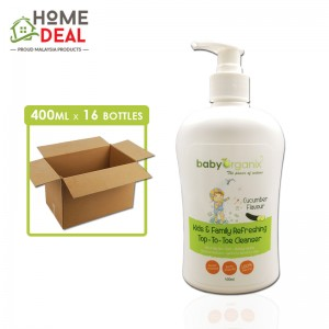 Baby Organix - Kids & Family Top-to-Toe Cleanser - Cucumber - 400 ml x 16 bottles (Wholesale)