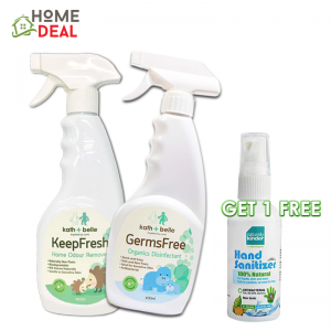 Kath + Belle Keep Fresh Home Odour Remover Spray + Germs Free Disinfectant Free Hand Sanitising