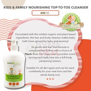 Baby Organix Nourishing Top To Toe Cleanser - Peach (400ml) TWINPACK with Hand Sanitising Water 60ml